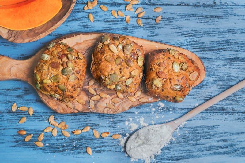 Pumpkin round small bread buns stock image