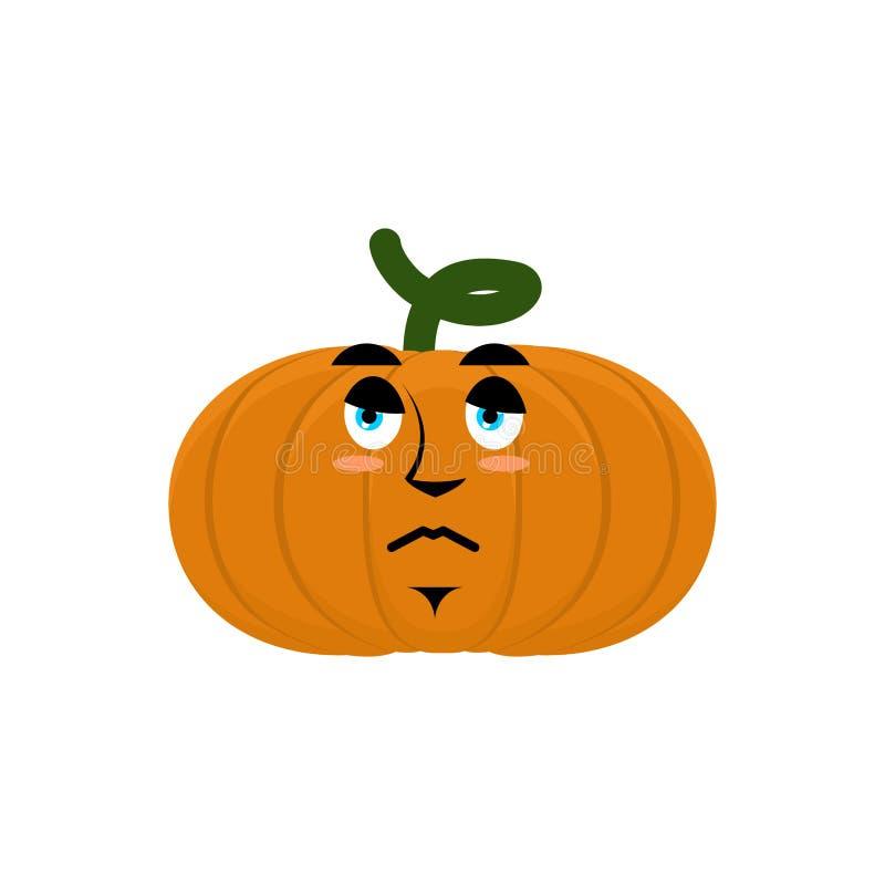 Pumpkin sad angry Emoji. Halloween vegetable sorrowful emotion i stock illustration