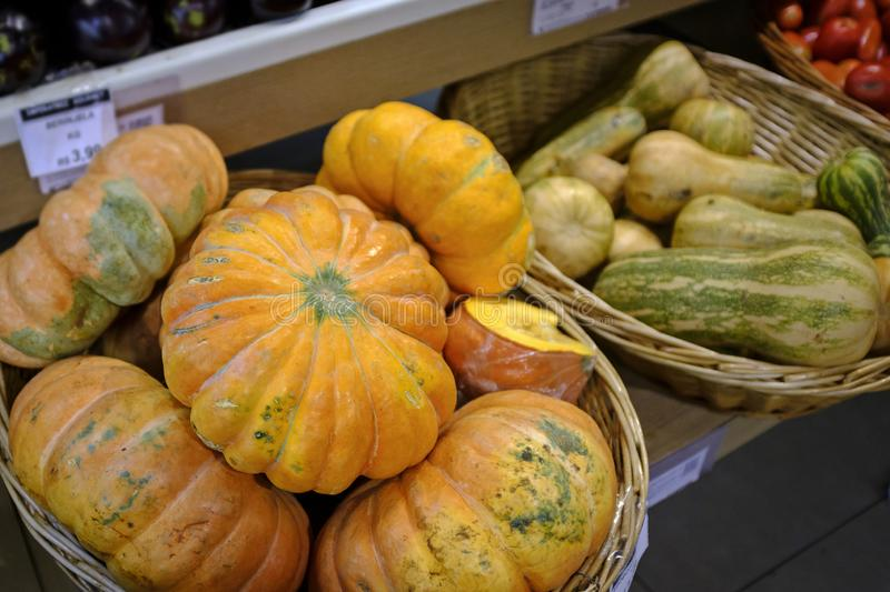 Pumpkin for sale in the market royalty free stock photography