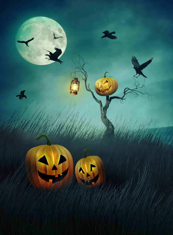 Pumpkin scarecrow in fields of grass at night royalty free illustration