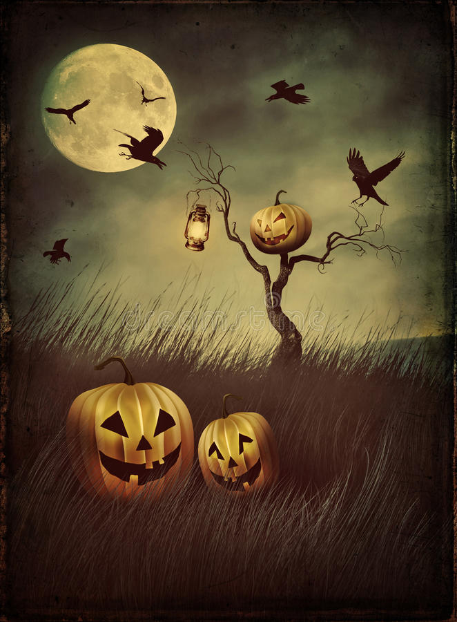 Pumpkin scarecrow in fields at night with vintage look stock illustration