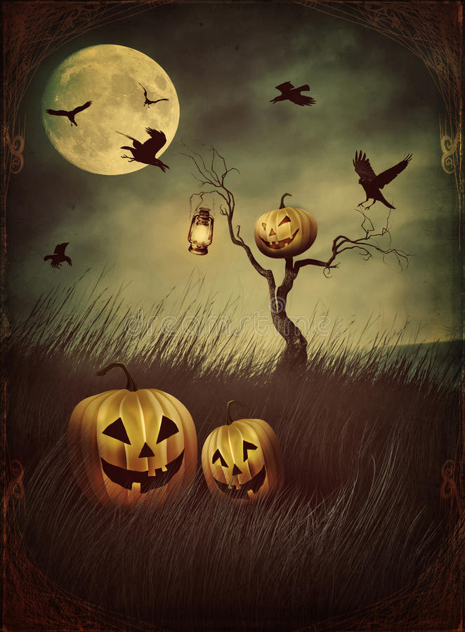 Pumpkin scarecrow in fields at night with vintage look vector illustration