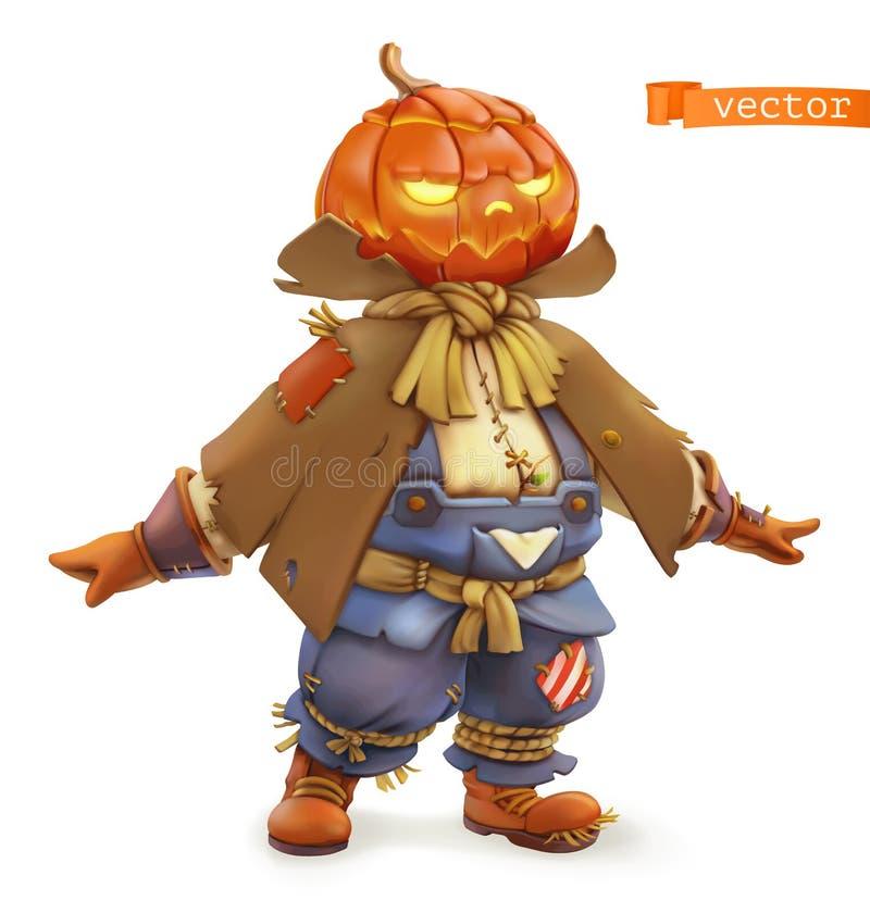 Free Pumpkin Scarecrow. Happy Halloween. 3d Vector Cartoon Character Stock Photo - 159188890