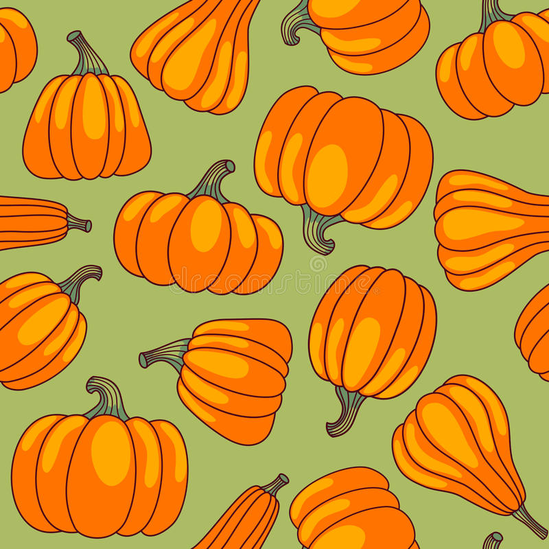 Download Pumpkin seamless pattern. stock vector. Image of green - 26552419