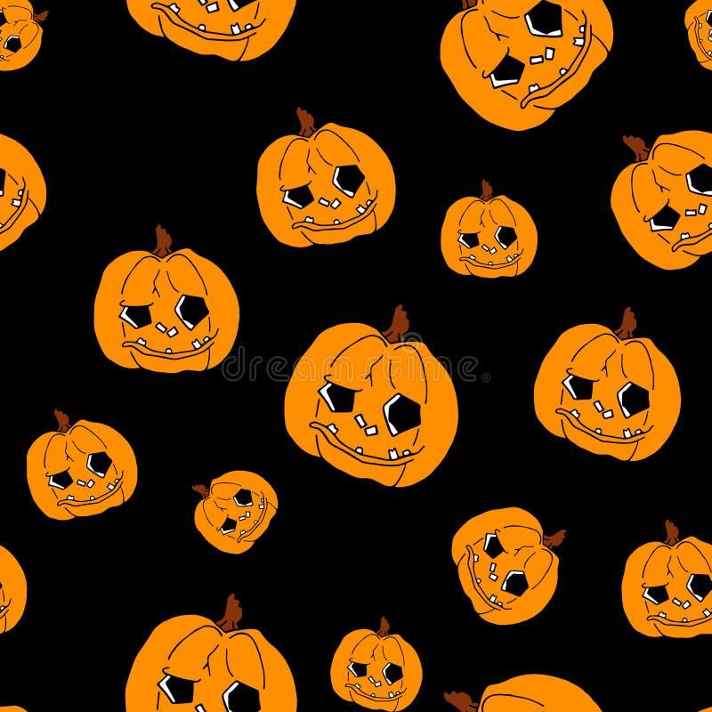 Pumpkin seamless pattern on black background. Orange pumpkin background for Harvest festival or Thanksgiving day royalty free illustration