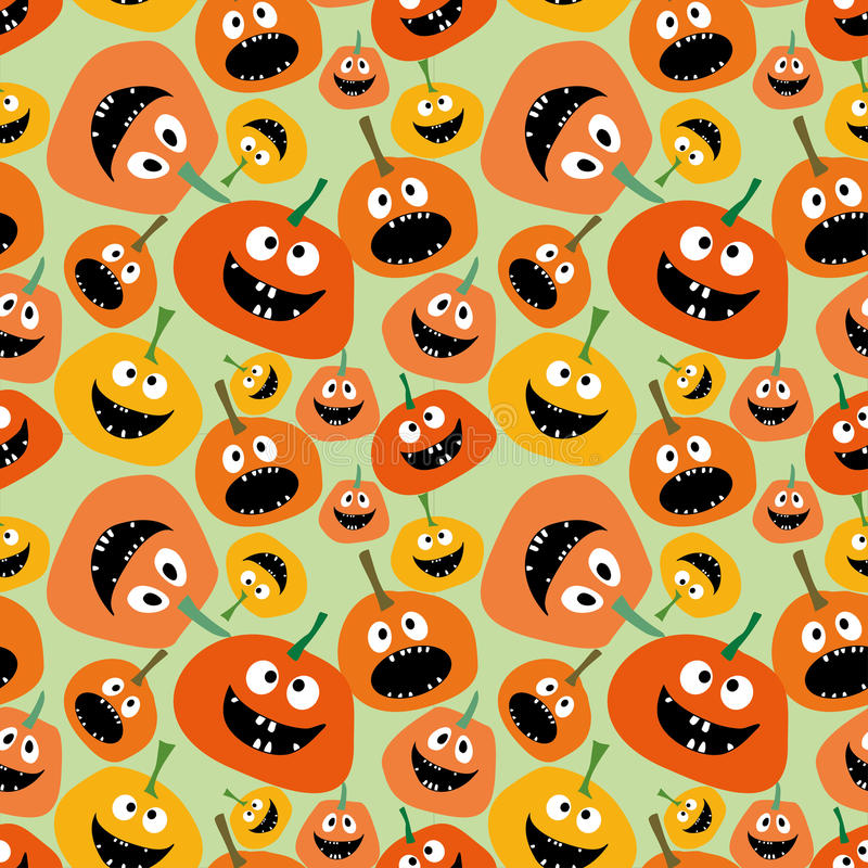 Pumpkin seamless pattern on green background Background for Halloween party yellow and orange pumpkin Pumpkin seamless background vector illustration