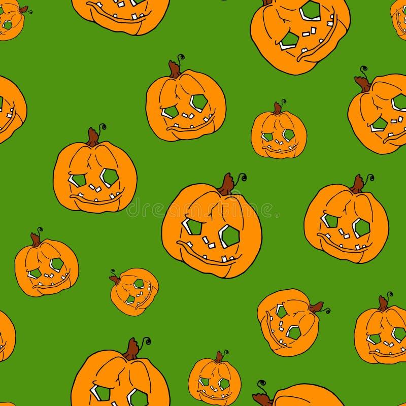 Pumpkin seamless pattern on green background. Orange pumpkin background for Harvest festival or Thanksgiving day. Halloween orange repeating print royalty free illustration