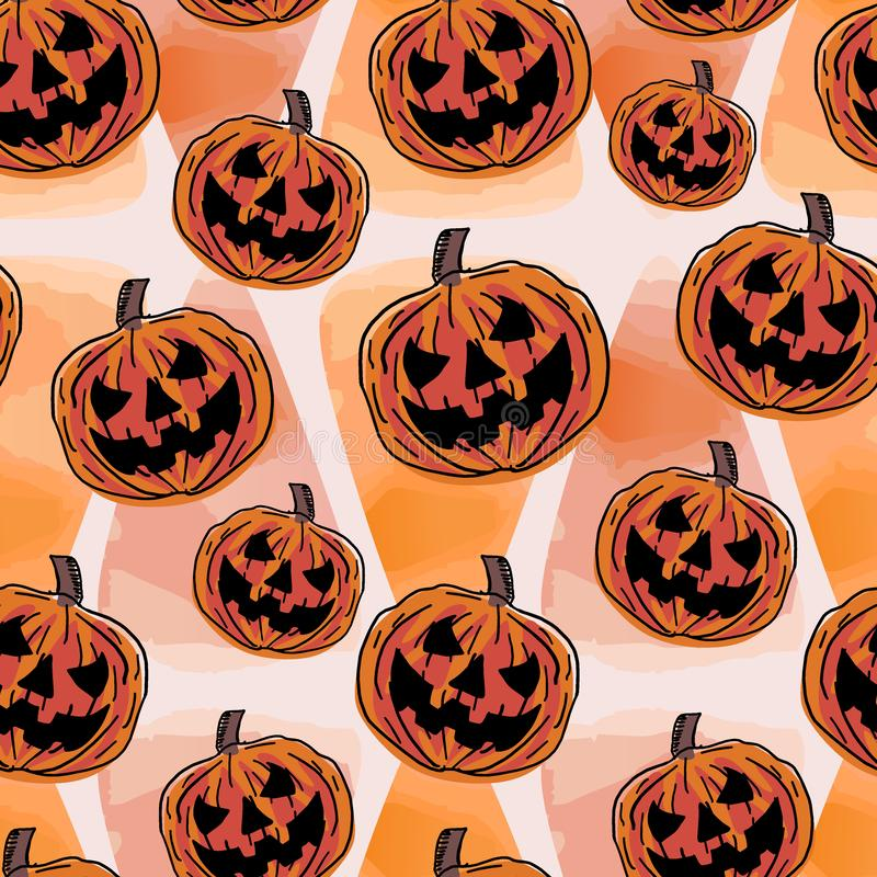 Pumpkin seamless pattern for halloween holiday with watercolor orange theme. Hand drawn pumpkins for baby clothing and textile pri royalty free illustration