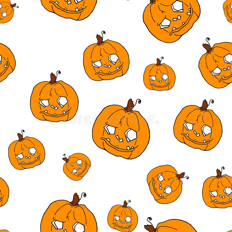 Pumpkin seamless pattern on white background. Orange pumpkin background for Harvest festival or Thanksgiving day. Halloween orange repeating print vector illustration