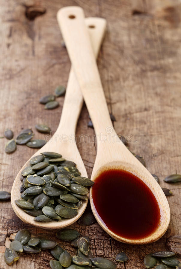 Pumpkin seed oil royalty free stock image