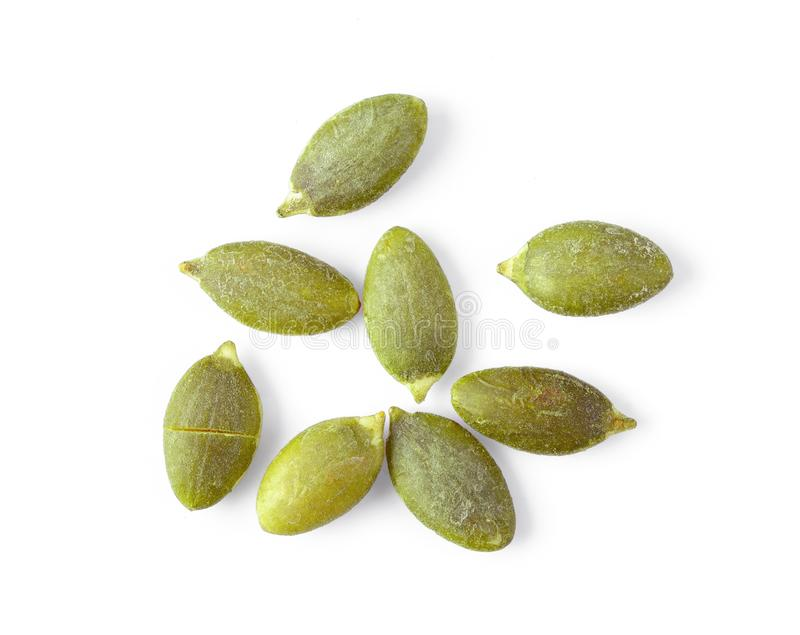 Pumpkin seeds isolated on white. Background stock photos