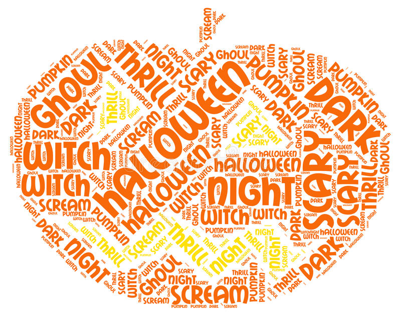 Pumpkin Shaped Colorful Bright Halloween Word Tag Cloud royalty free stock photos