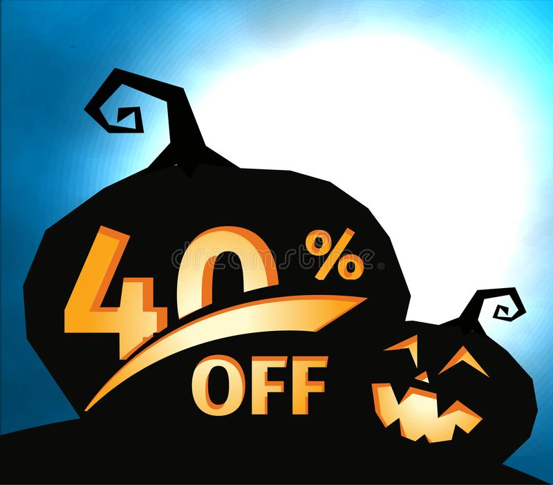 Pumpkin silhouette on dark blue sky with full moon. Halloween 40 percent off, sale banner. Holiday offer, autumn stock illustration