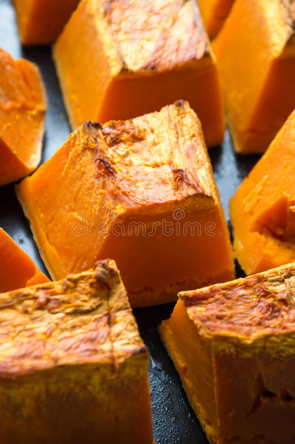 Download Pumpkin Slices On A Cooking Plate Stock Photo - Image: 83721369