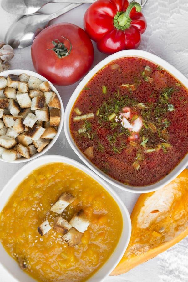 pumpkin soup, borscht, crackers, vegetables, tomato, pepper, pumpkin royalty free stock photos