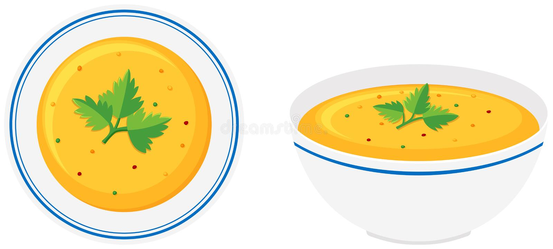 Pumpkin soup in bowl stock illustration