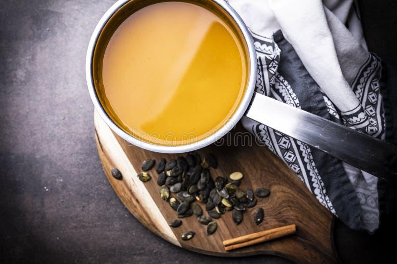 Pumpkin soup, creamy pumpkin soup, a nutritious hot meal stock photography