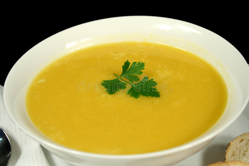 Pumpkin Soup With Parsley royalty free stock photo