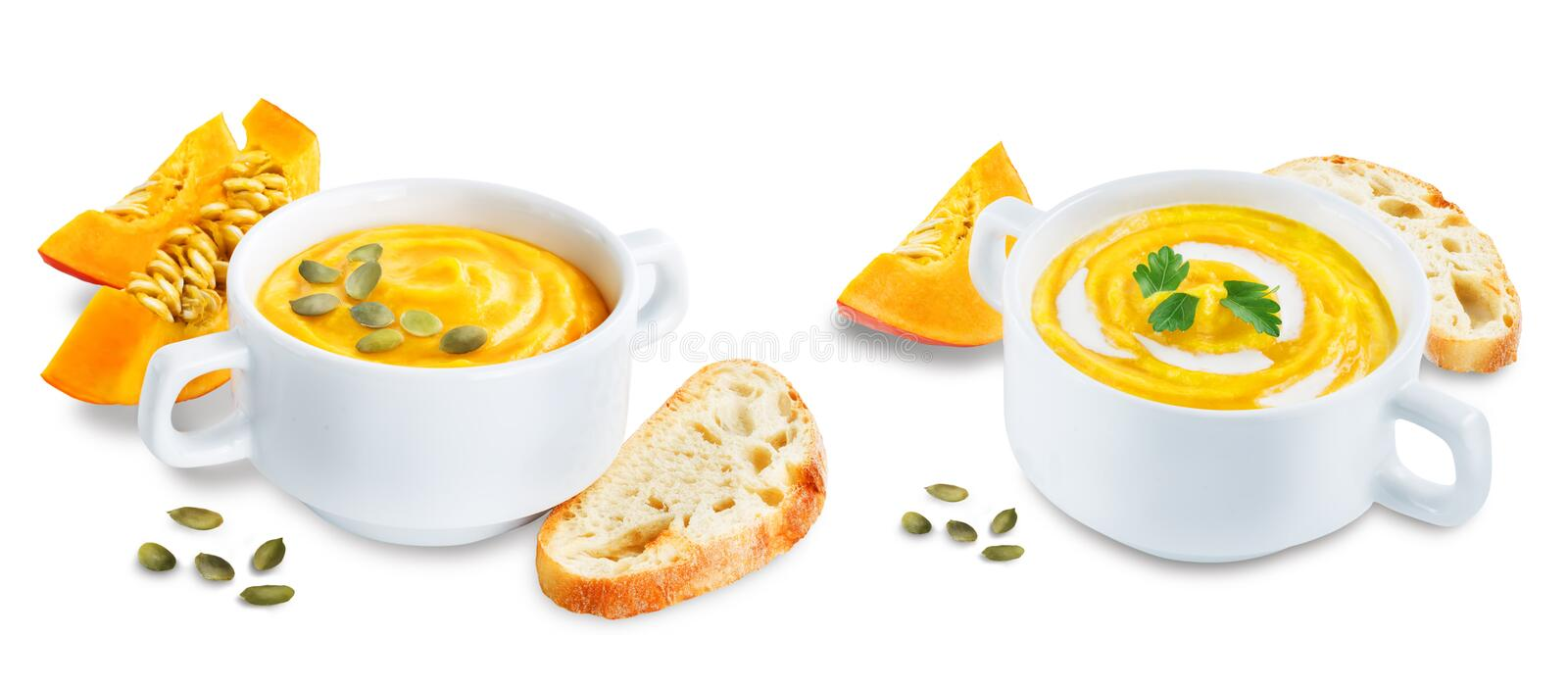 Pumpkin soup in white bowl on a white isolated background stock image