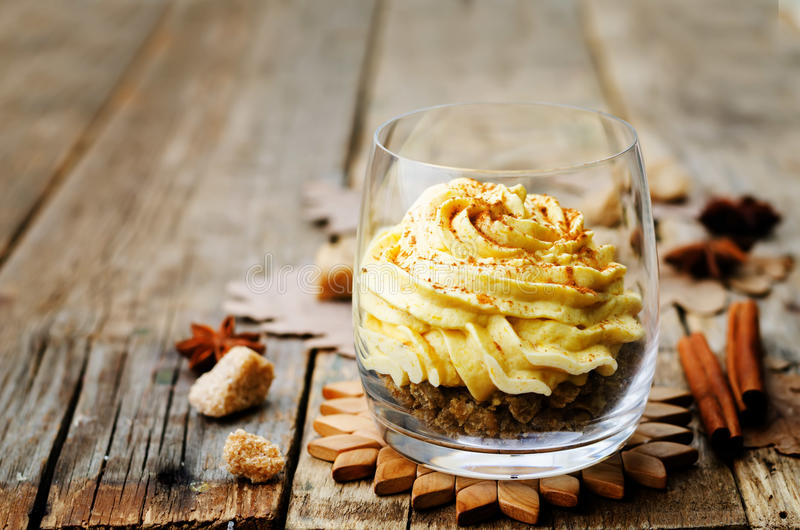 Pumpkin Spice Cheesecake Mousse Stock Image - Image of calorie ...