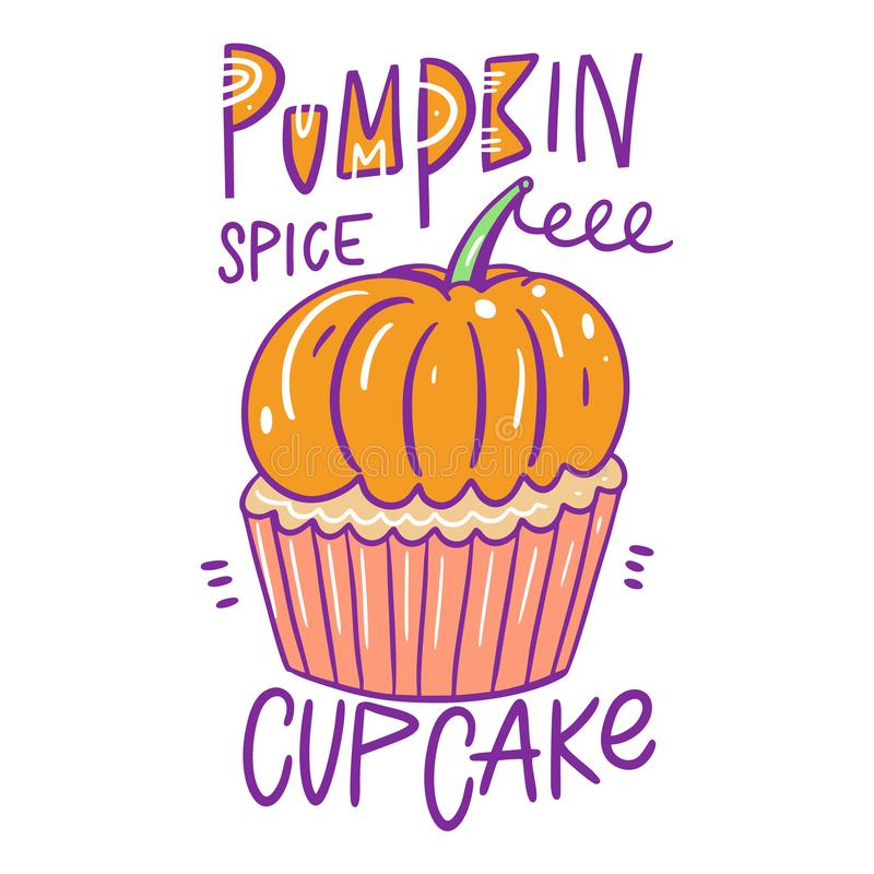 Pumpkin spice cupcake. Hand drawn vector illustration. Cartoon style. vector illustration