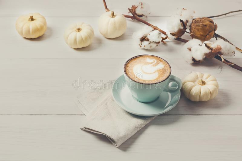 Pumpkin spice latte. Coffee cup on white wood background stock photography