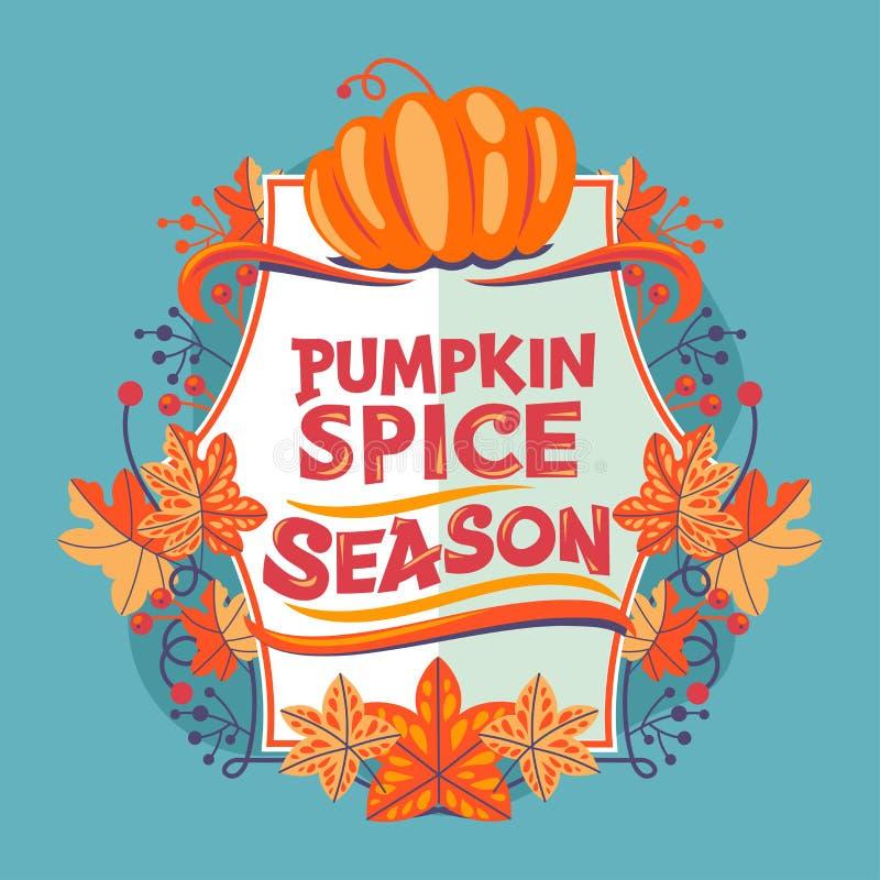 Pumpkin Spice Saison. Carte de voeux d'automne avec devis image stock