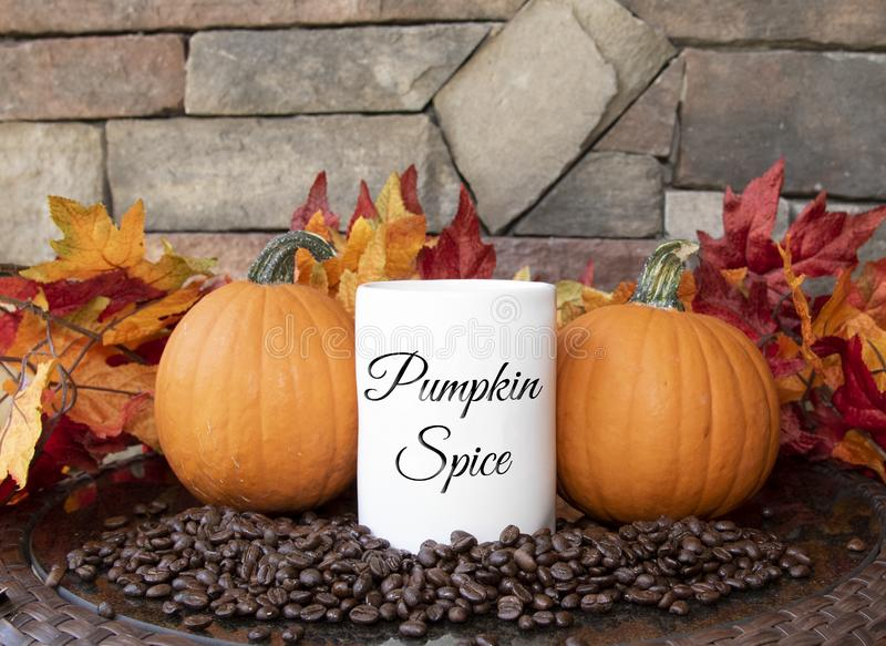 Fall Pumpkins, Leaves and Pumpkins Spice Mug on Table with Rock Background royalty free stock image