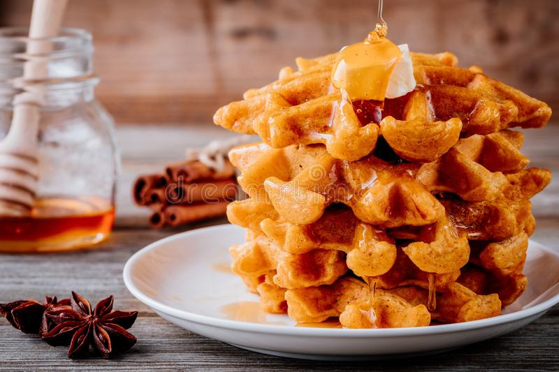 Pumpkin spice waffles with butter and honey for Thanksgiving Day. royalty free stock photo