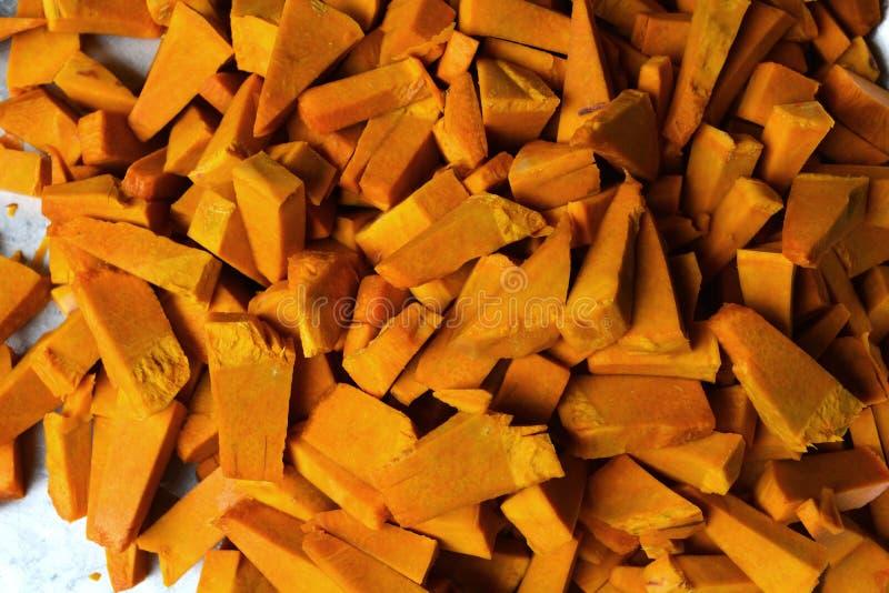Pumpkin split for cooking. Pumpkin split in Thai for cooking stock image
