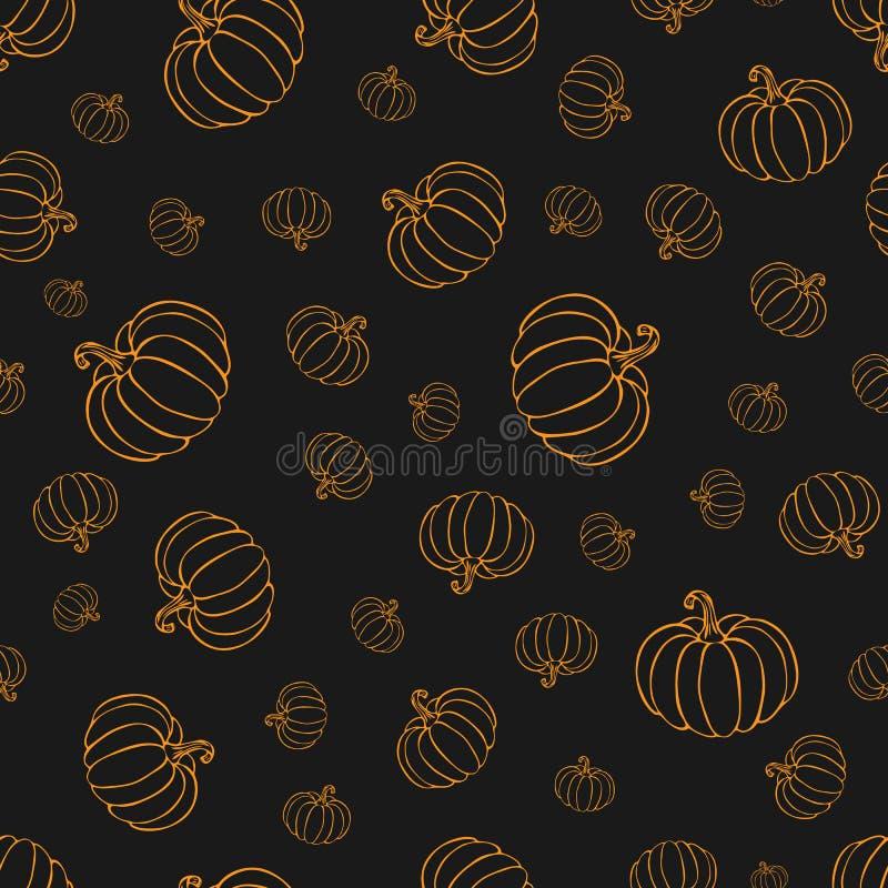 Pumpkin or squash pattern in orange color on blackboard. pumpkin pattern. vintage hand drawn pumpkin sketch. outline vegetables. Pattern for background royalty free illustration
