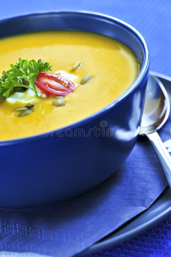 Download Pumpkin or squash soup stock photo. Image of squash, lunch - 6368876