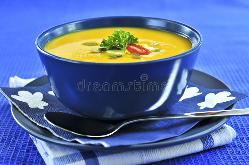 Download Pumpkin or squash soup stock image. Image of meal, squash - 6424445