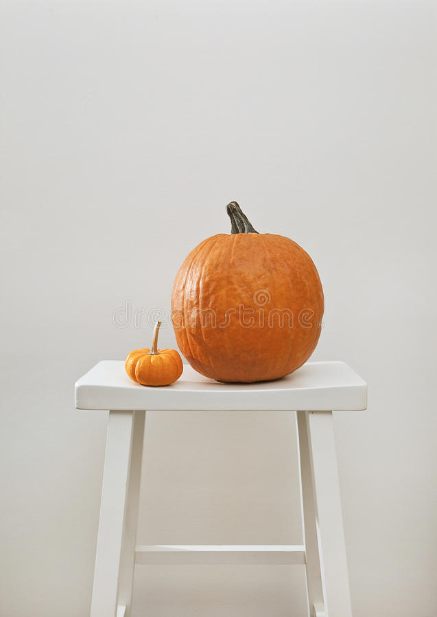 Pumpkin On A Stool Royalty Free Stock Image