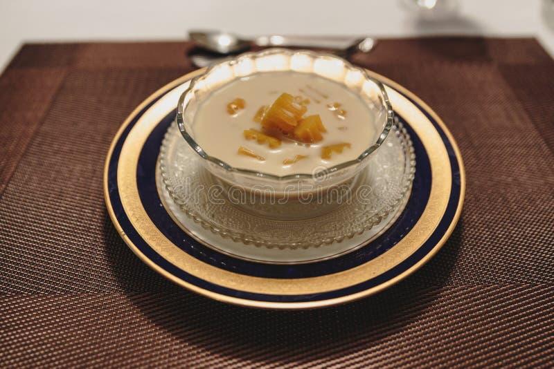 Pumpkin in sweet coconut milk is Thai`s dessert in Kolkata, India stock image