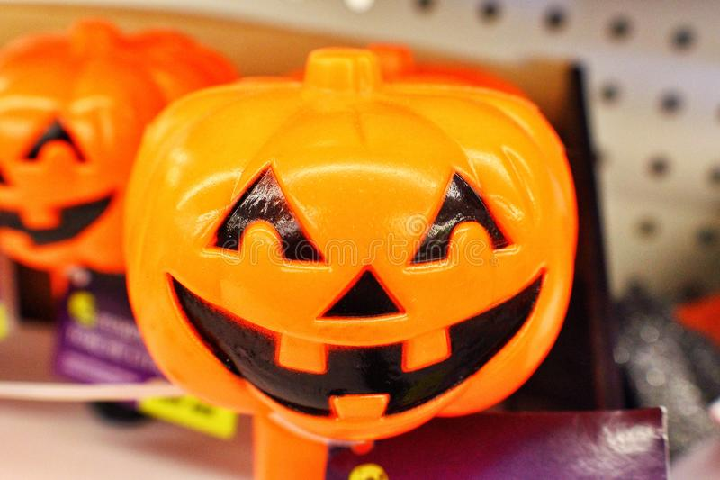 Pumpkin toy. A jackolantern to in a Halloween store royalty free stock images