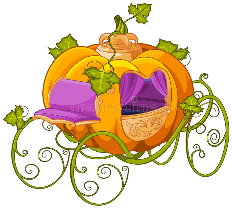 Pumpkin Turn into a Carriage for Cinderella vector illustration