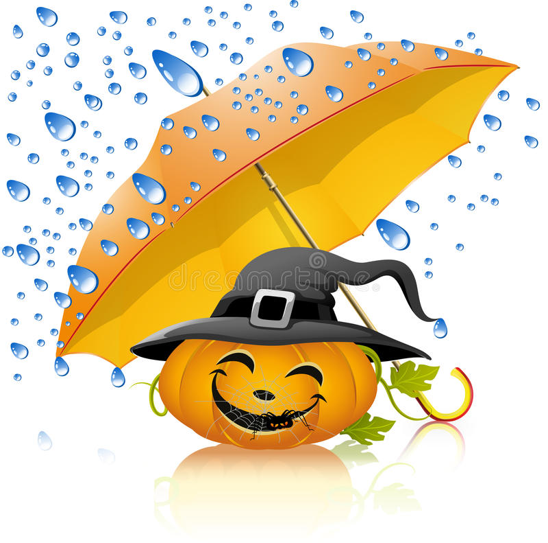 Pumpkin under a yellow umbrella with rain stock illustration