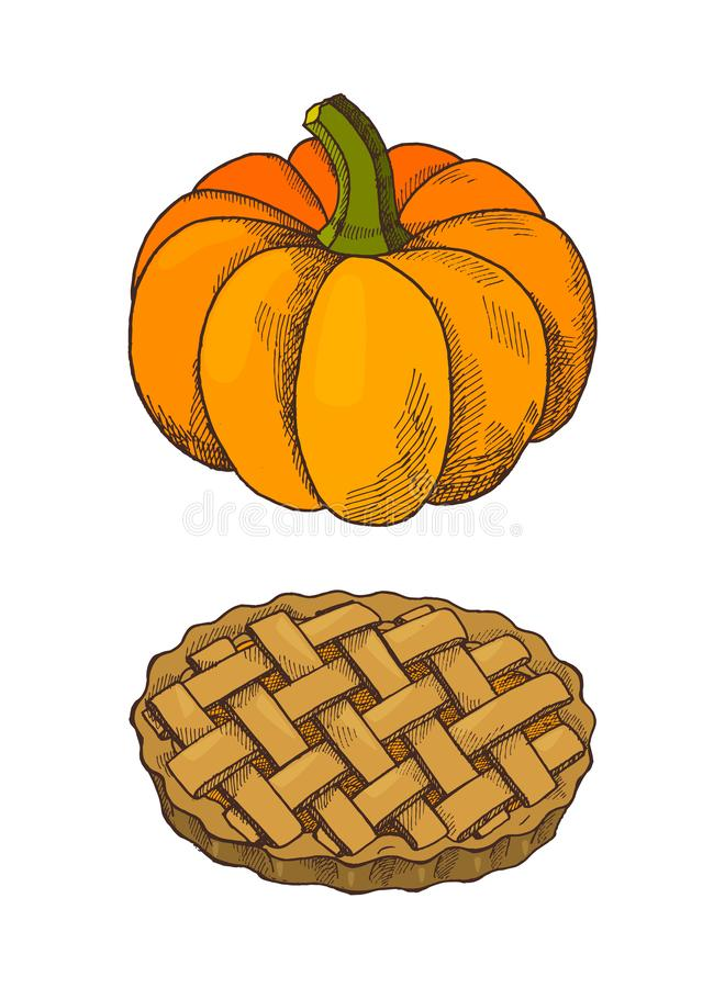 Pumpkin Vegetable and Baked Pie Icons Set Vector. Pumpkin vegetable and baked pie isolated icons set vector. Traditional meal cooked on thanksgiving day vector illustration