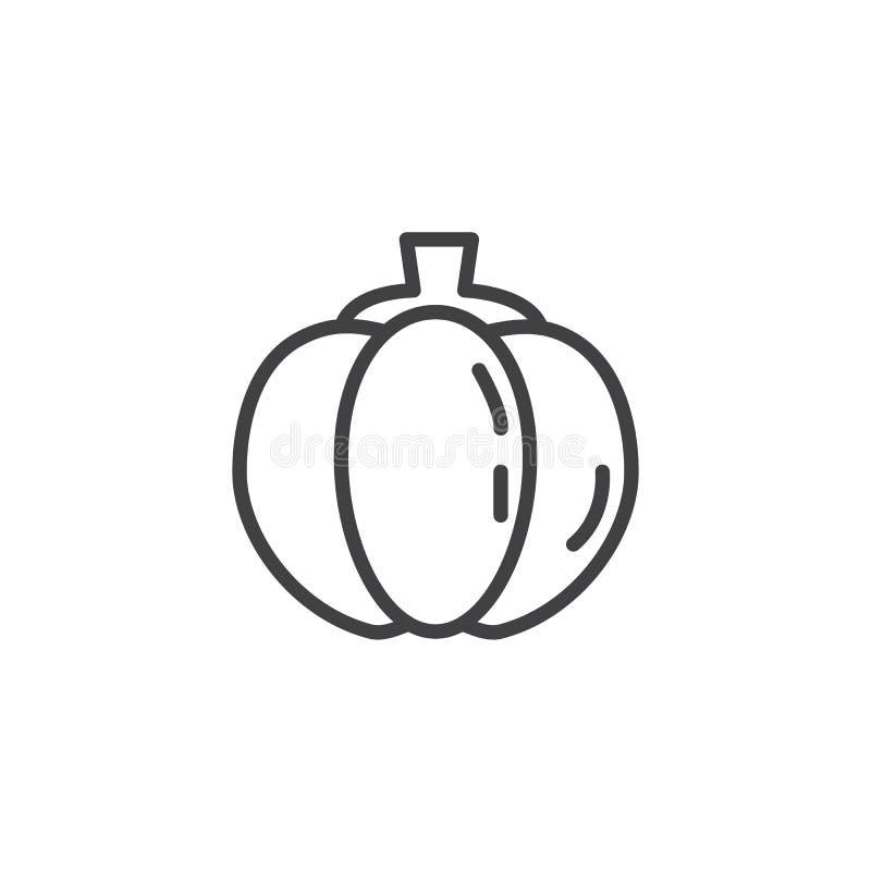 Pumpkin vegetable line icon. Linear style sign for mobile concept and web design. Pumpkin outline vector icon. Symbol, logo illustration. Vector graphics vector illustration