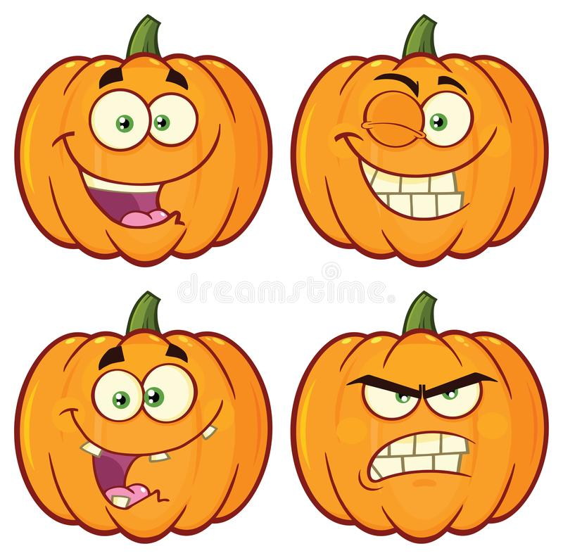 Pumpkin Vegetables Cartoon Emoji Face Character Set 1. Collection. Isolated On White Background stock illustration