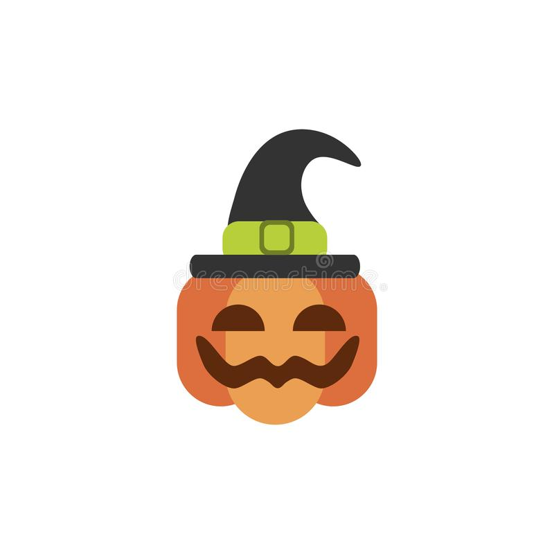 Pumpkin with witch hat trick or treat happy halloween vector illustration