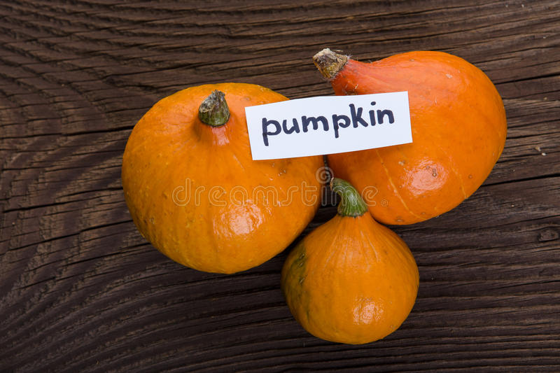Pumpkin on wooden background. Vector illustration royalty free stock images