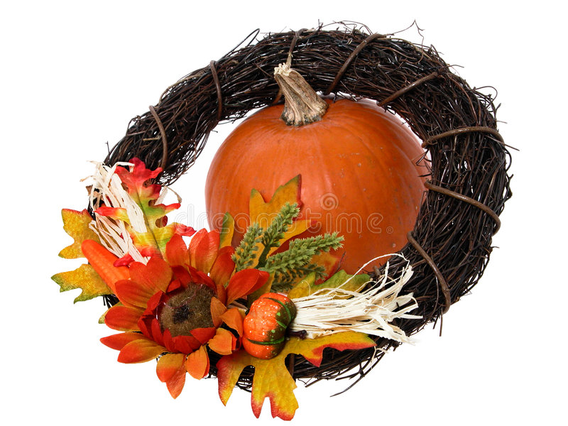 Pumpkin & Wreath stock photos