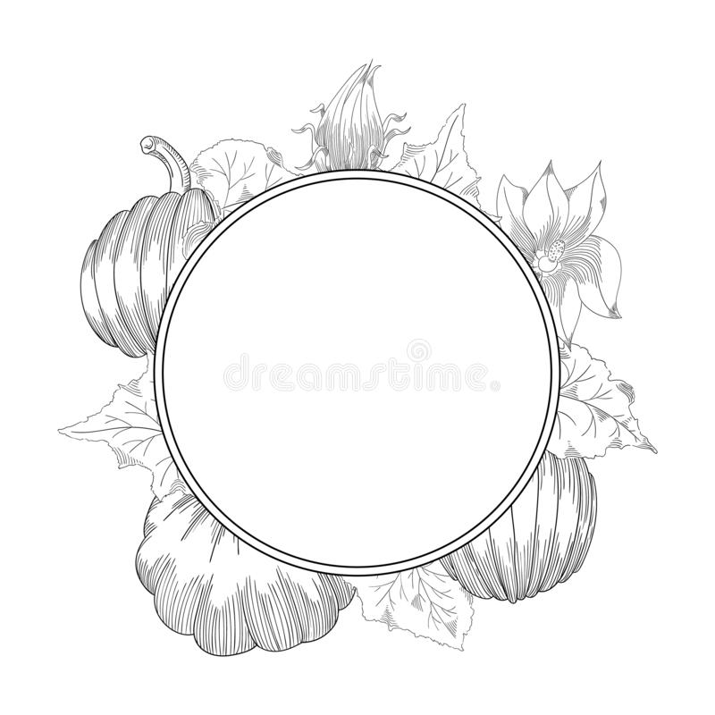 Pumpkin wreath vector drawing set. Isolated hand drawn object with sliced and leaves. vector illustration