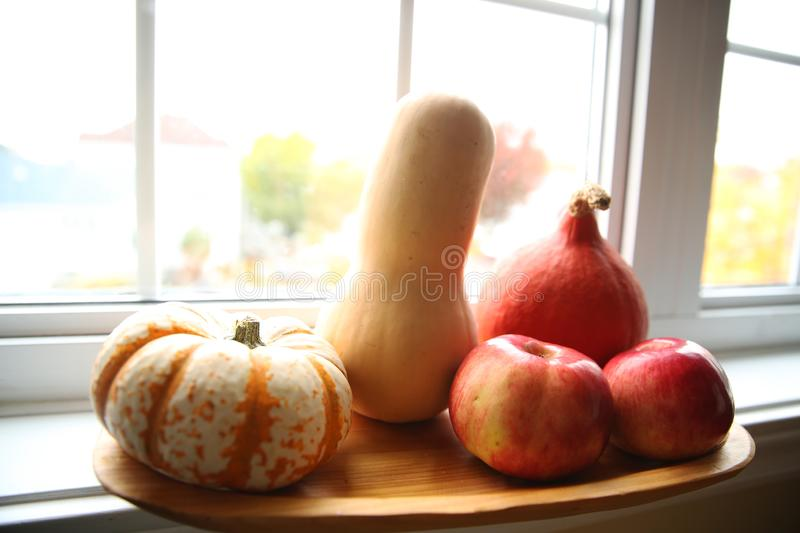 Pumpkins and apples on a wooden table in front of the window and autumn nature stock images