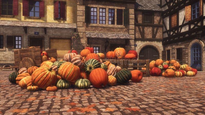 Pumpkins at autumn farmers market for Thanksgiving stock illustration
