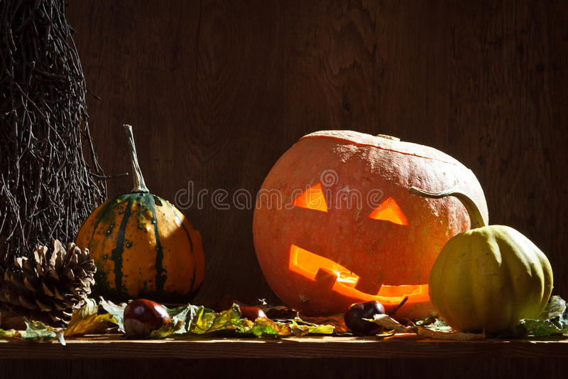 Pumpkins with candle royalty free stock photos