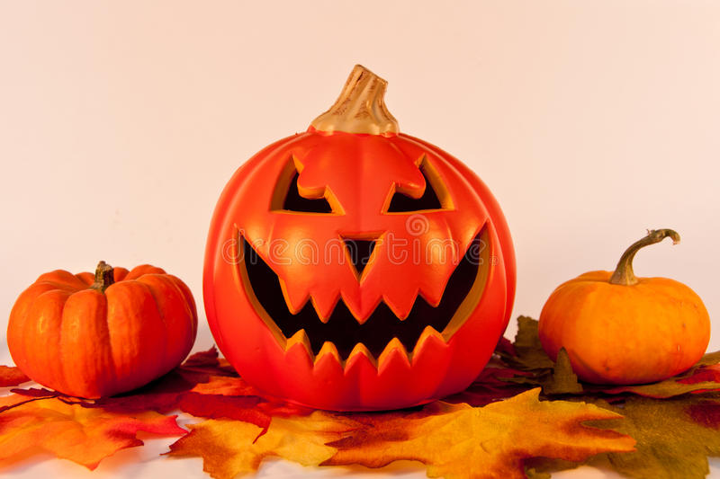 Pumpkins on Fall Leaves royalty free stock photography
