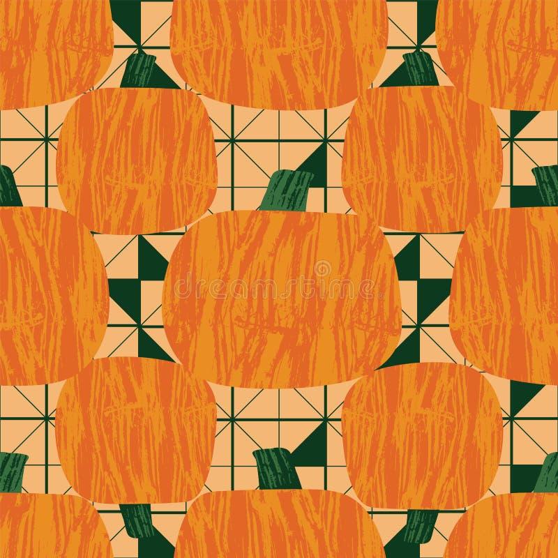 Pumpkins on geometric triangle background seamless vector pattern design print. Retro style illustration. Pumpkins on geometric triangle background seamless vector illustration